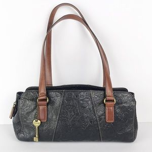 Fossil satchel tooled black leather brown handle